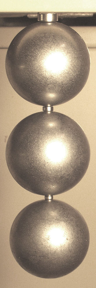 Neodymium magnet - Neodymium magnets (small cylinders) lifting steel spheres. Such magnets can easily lift thousands of times their own weight.