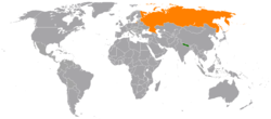 Map indicating locations of Nepal and Russia