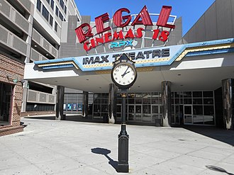 New Roc City - Electrictime clock in front of IMAX Theater