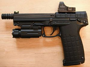 Kel-Tec PMR-30 - A new generation PMR-30 with a Burris FastFire II red-dot sight, tactical light, and 5-inch threaded barrel with cone style flash reducer.