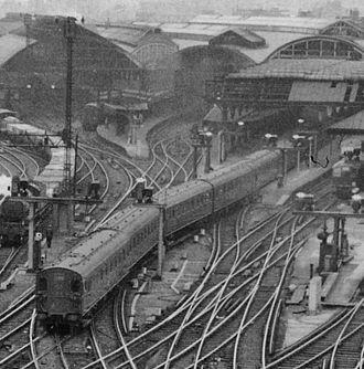 Tyneside Electrics - British Rail 2–EPB train at Newcastle Central in 1960.