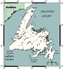 Karte von Neufundland