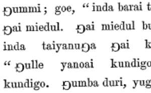 Eng (letter) - An 1856 text in Gamilaraay, using a rotated capital G as a substitute for ŋ.