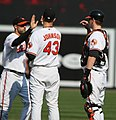 Nick Markakis, Jim Johnson and Matt Wieters (3872461344).jpg