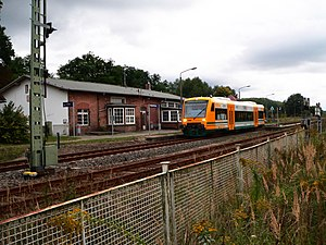 Eberswalde–Frankfurt (Oder) railway - ODEG DMU in Niederfinow station