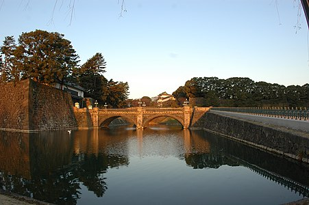 Nijubashi bridge at Edo castle in Tokyo Japan is the main entrance to The Imperial Palace