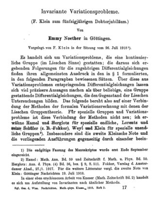 """Noether's theorem - First page of Emmy Noether's article """"Invariante Variationsprobleme"""" (1918), where she proved her theorem."""