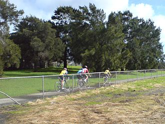 Northwestern Cycleway - Cyclists on the cycleway in Te Atatu.