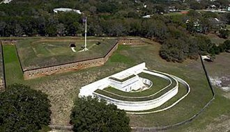 Fort Barrancas - Aerial view of Fort Barrancas. The water battery is the white section.