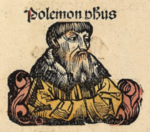Polemon (scholarch) - Polemon, depicted as a medieval scholar in the Nuremberg Chronicle
