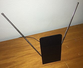 "Terrestrial television - Indoor ""rabbit ears"" antenna often used for terrestrial television reception"