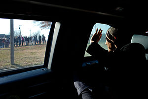 Osawatomie, Kansas - President Obama waving to Kansans after his economic speech in Osawatomie, Kansas on December 6, 2011.