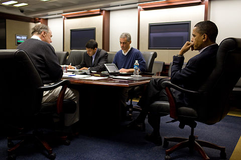 US President Barack Obama holds a conference call from the Situation Room of the White House concerning the February earthquake.
