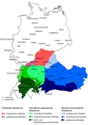 Upper German, southern counterpart to Central German, both forming the High German Languages. Blue are the Austro-Bavarian dialects Oberdeutsche Mundarten.png