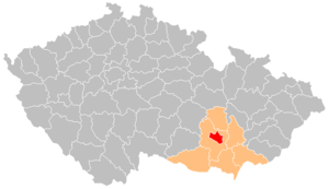 District location in the South Moravian Region within the Czech Republic