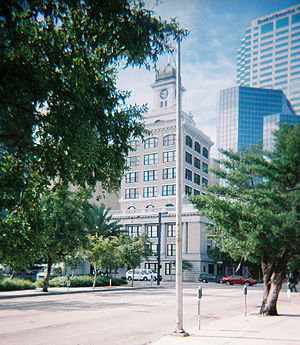 Tampa City Hall - Old Tampa City Hall, center, surrounded by skyscrapers in downtown Tampa