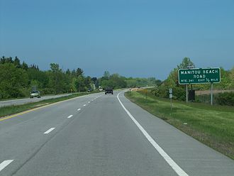 Lake Ontario State Parkway - Old, text-only sign for NY 261's exit on the Lake Ontario Parkway