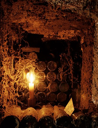 Aging of wine - Bottles of wine aging in an underground cellar