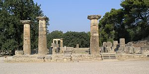 Temple of Hera, Olympia - Restored ruins of the temple