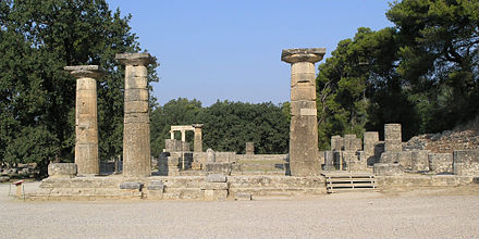 The Temple of Hera at Olympia was built in the Archaic period, circa  590 BC