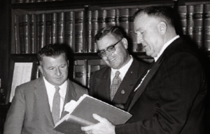 Jack Duggan (politician) - On the eve of the June 1957 split, Labor's new deputy leader Dr Felix Dittmer (left) with the new leader Jack Duggan (centre) and the Speaker Johnno Mann