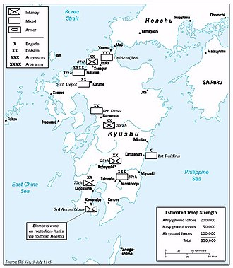 Operation Downfall - American estimates of Japanese troop strength on Kyūshū as of 9 July 1945