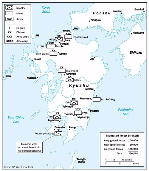 American estimates of Japanese troop strength on Kyushu as of 9 July 1945 Operation Downfall - Estimated Troops 01.jpg