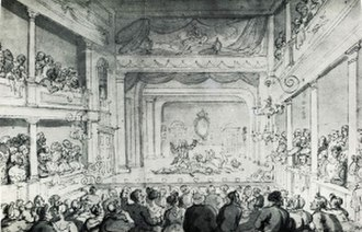 Old Orchard Street Theatre - Old Orchard Street Theatre. Drawn by Thomas Rowlandson circa 1790
