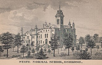 University of Wisconsin–Oshkosh - An Illustration of the Oshkosh State Normal School, from the 1885 edition of the Wisconsin Blue Book.