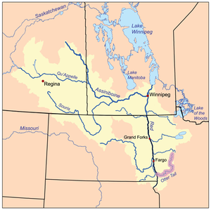 Otter Tail River - The Red River drainage basin, with the Otter Tail River highlighted