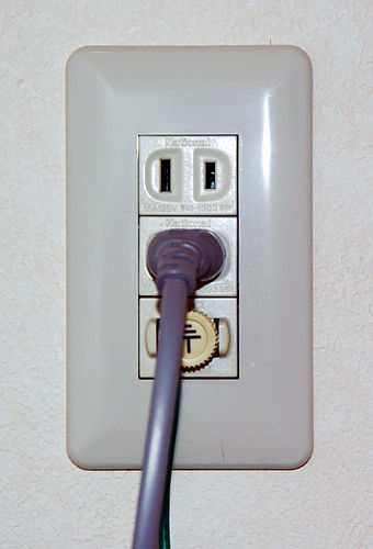 Japanese socket with earth post, for a washing machine OutletPlug.jpg