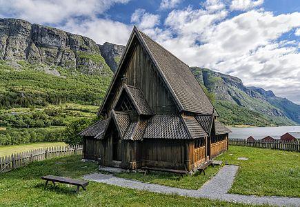 Øye stave church in Øye, Vang, Norway.