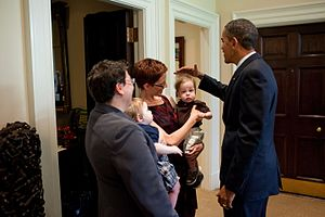 "Alison J. Nathan - President Barack Obama greets departing Associate Counsel to the President Alison J. ""Ali"" Nathan, left, Meg Satterthwaite, and their twin sons Oliver and Nathan, in the Outer Oval Office, July 7, 2010."