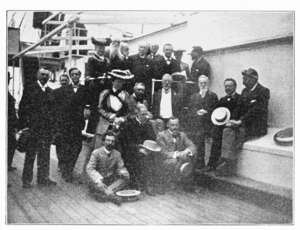 Ernest William Brown - British Association members on the voyage to South Africa, 1905. Brown is seated at bottom right.