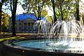 Pałac w Młochowie i fontanna jesienią.jpg