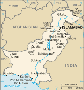 Port Qasim - Map of Pakistan, showing Port Qasim and its sister ports of Karachi and Gwadar.