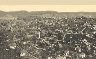 "Seymour, Connecticut - ""Panorama From Castle Rock"" of Seymour, from a 1905 postcard"