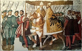 Pope Clement VII and Emperor Charles V on horseback under a canopy, by Jacopo Ligozzi, c. 1580. It describes the entry of the Pope and the Emperor into Bologna in 1530, when the latter was crowned as Holy Roman Emperor by the former. (Source: Wikimedia)