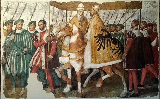 Pope Clement VII and Emperor Charles V on horseback under a canopy, by Jacopo Ligozzi, c. 1580. It describes the entry of the Pope and the Emperor into Bologna in 1530, when the latter was crowned as Holy Roman Emperor by the former. Papa Clemente VII e l'imperatore Carlo V a cavallo soto un baldacchino (8 de agosto de 2018, Museo degli affreschi Giovanni Battista Cavalcaselle, Verona).jpg