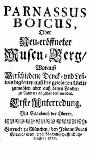 Parnassus Boicus - Image: Paranssus Boicus 1722