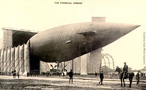 Luft-Fahrzeug-Gesellschaft - The PL 18 next to an airship hangar. This was delivered to the British Navy as Parseval No.4  in 1913.