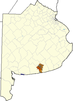 location of San Cayetano Partido in Buenos Aires Province