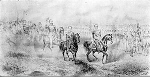 Drawing depicting a group of mounted men in dress uniform who are inspecting lines of troops