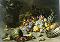 Peter van Boucle – A still life with fruit, vegetables coming out of an overturned basket and flowers in a vase.jpg
