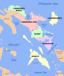 Political map of Bicol Region, Philippines showing Masbate