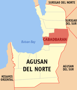 Map of Agusan del Norte showing the location of Cabadbaran City.