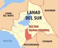 Map of Lanao del Sur with Sultan Dumalondong highlighted