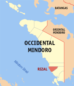 Mapa ti Occidental Mindoro a mangipakita ti lokasion ti Rizal, Occidental Mindoro.