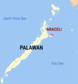 Map of Palawan with Araceli highlighted