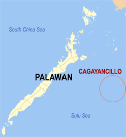 Map of Palawan showing the location of Cagayancillo